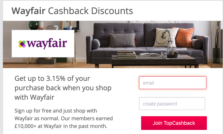 Wayfair UK topcashback