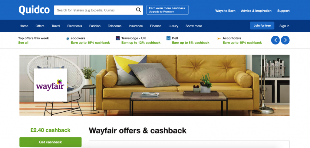 Quidco Wayfair UK Cashback