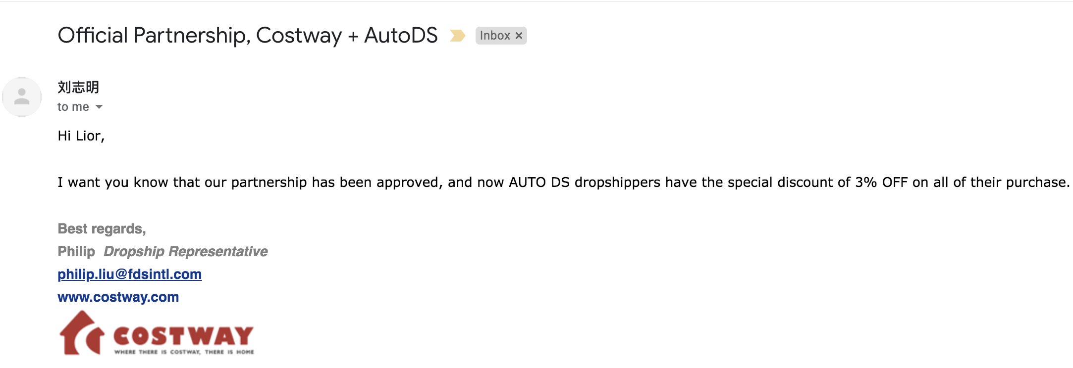 official partnership between AutoDS and Costway
