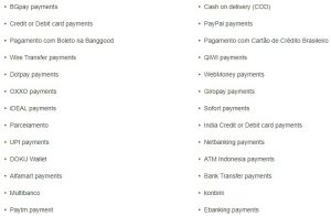 Banggood Accepted Payment Methods