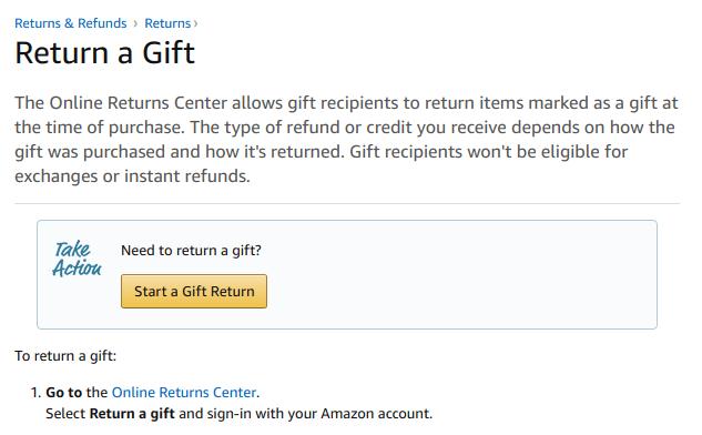 Returning Amazon gifts