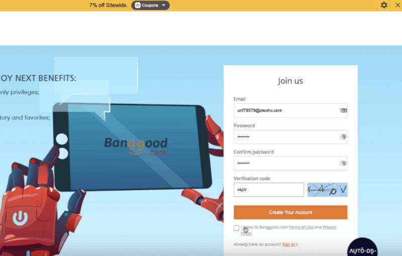 creating a Banggood account