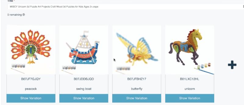 Uploading variation listings using AutoDS