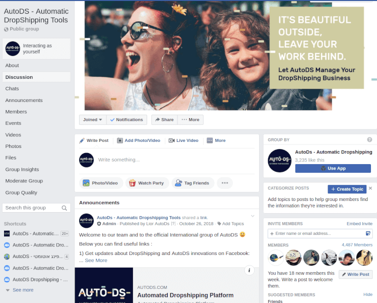 AutoDS dropshipping community facebook group