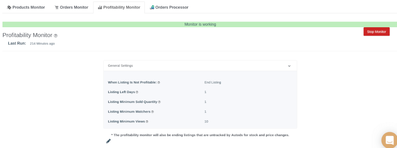 AutoDS profitability monitor