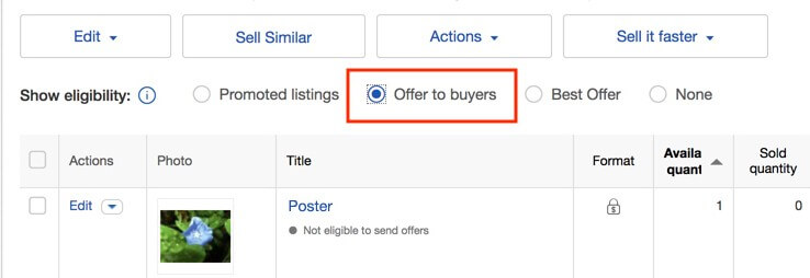 eBay offers to buyers