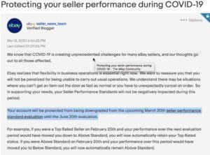 eBay Coronavirus seller performance