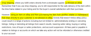 ebay policy about dropshipping
