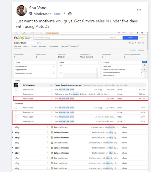 using autods shut has gotten more sales in less than a week