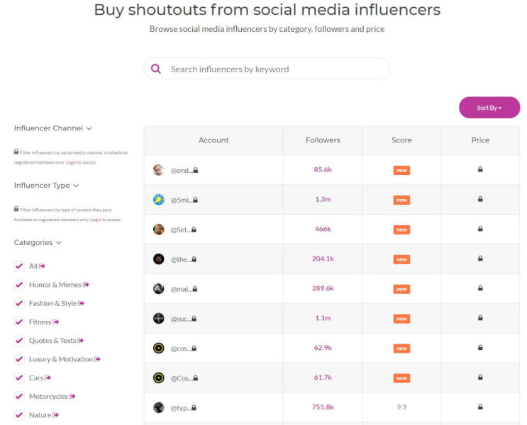 buy shoutouts from influencers