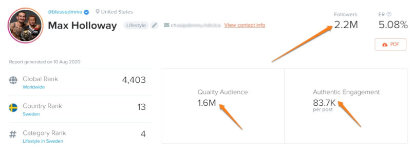 number of followers, quality audience, and authentic engagement: