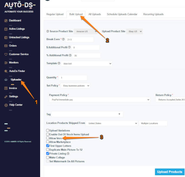avoid vero products when doing ebay bulk uploads with the help of autods