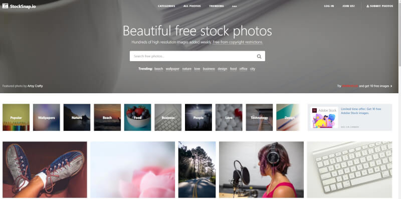 another way to improve your shopify product images is stocksnap