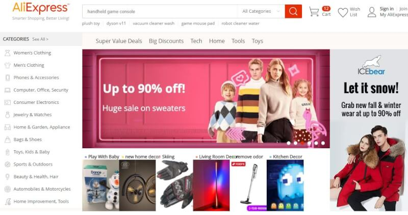 Aliexpress containing many wholesale dropshipping suppliers