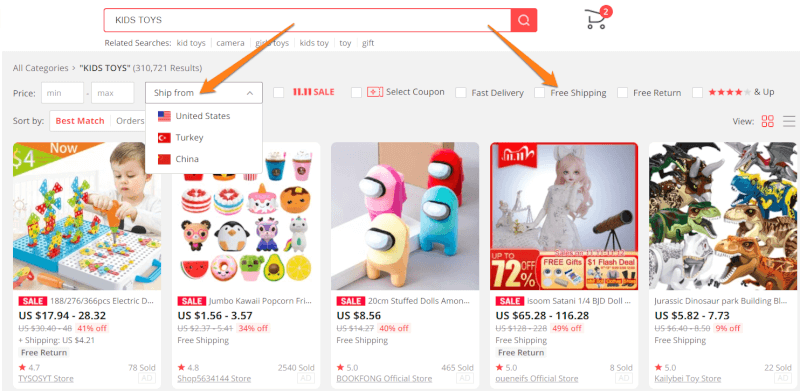 Filtering AliExpress Products Based On Shipping Methods