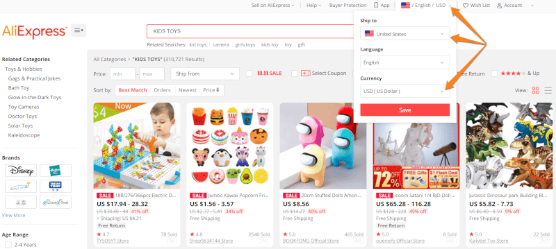 Changing the aliexpress country and currency