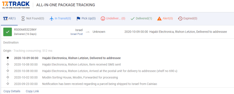 tracking aliexpress orders using 17 track