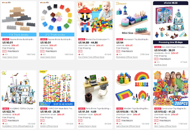 Shopping building toys