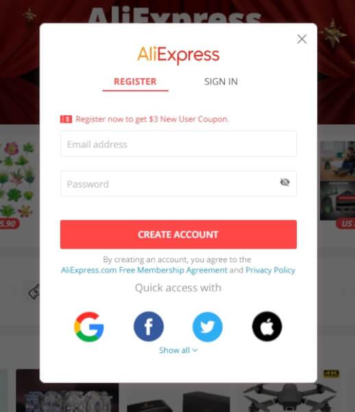 aliexpress sign in