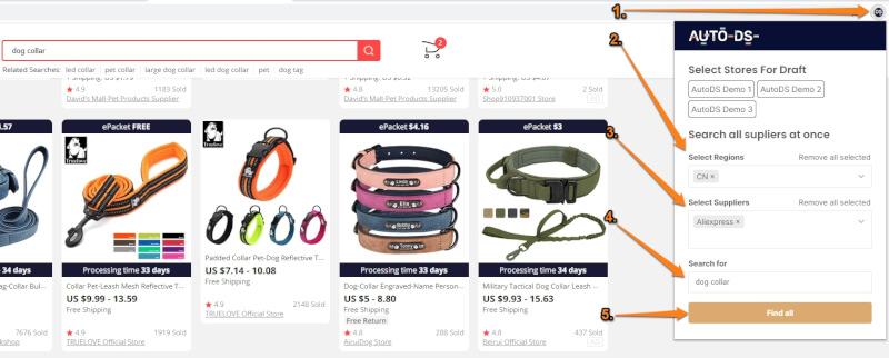 quick supplier search autods helper extension aliexpress