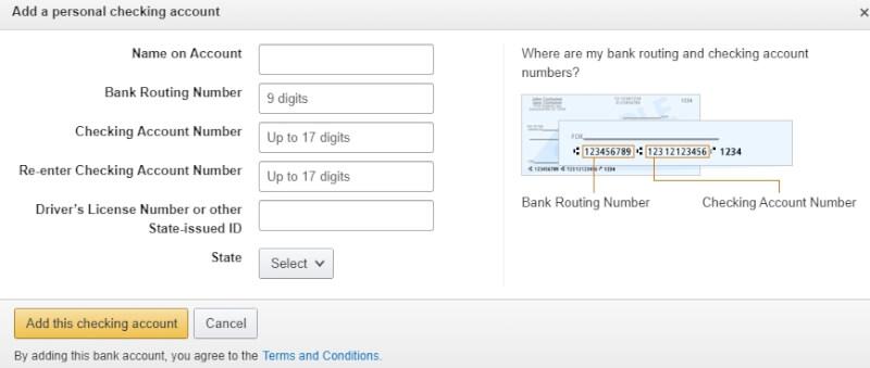amazon checking account dropshipping
