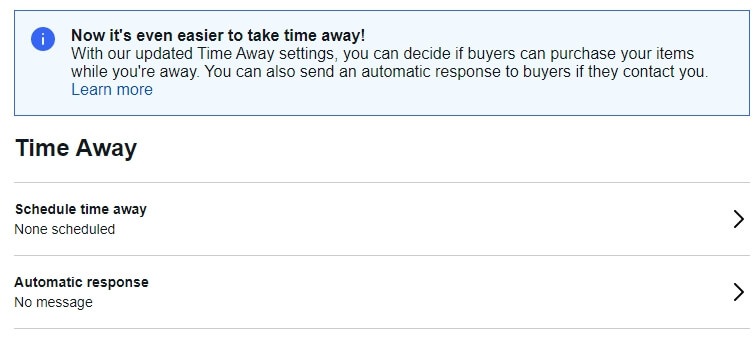 ebay schedule time away