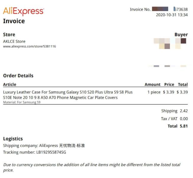 aliexpress invoice pdf