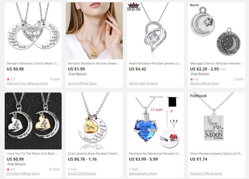 'I Love You To The Moon and Back' Necklace valentines dropshipping