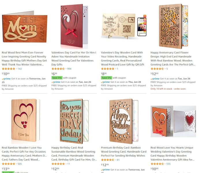 valentines day wood greeting cards