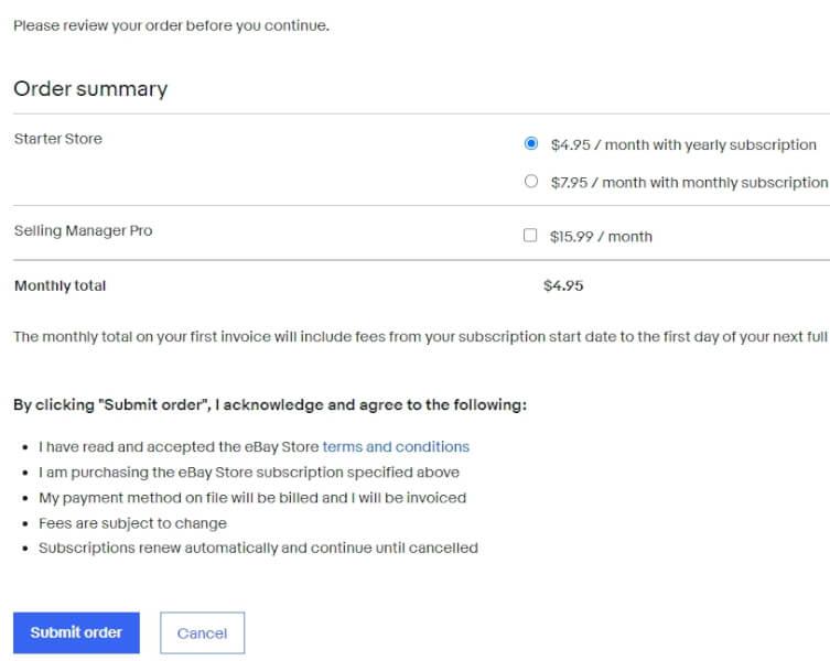 ebay order summary