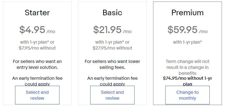 ebay store subscription upgrade