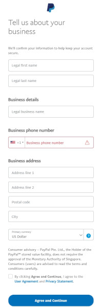 paypal business info