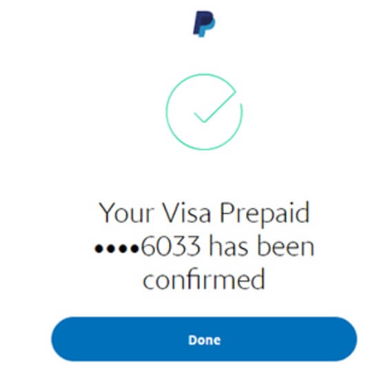 paypal card confirmed