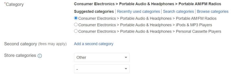 ebay choose category list product