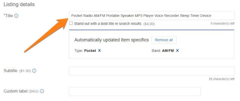 ebay item title product listing