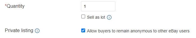 ebay quantity private listing