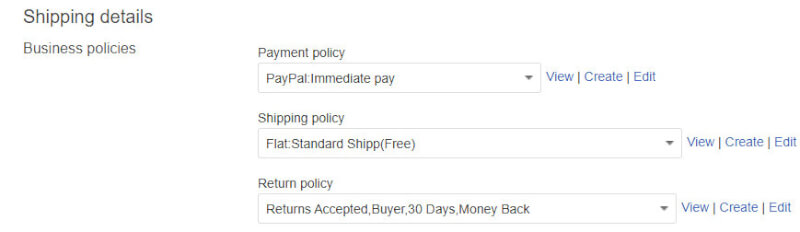 ebay shipping details product list