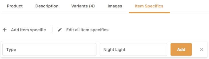 add item specific ebay