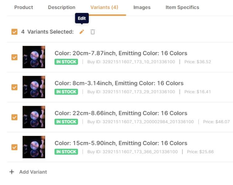 variants bulk selector