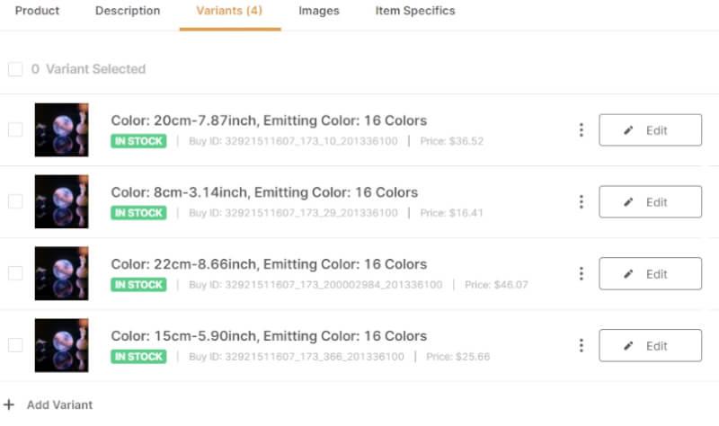ebay variants autods