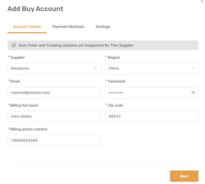 add buy account autods