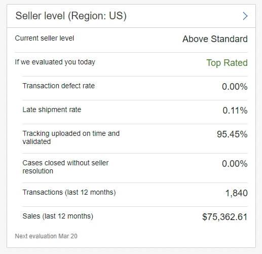 good ebay seller standing