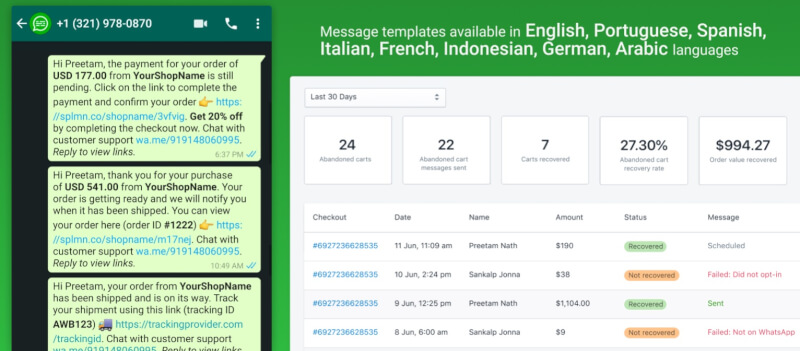 WhatsApp Chat Abandoned Cart shopify