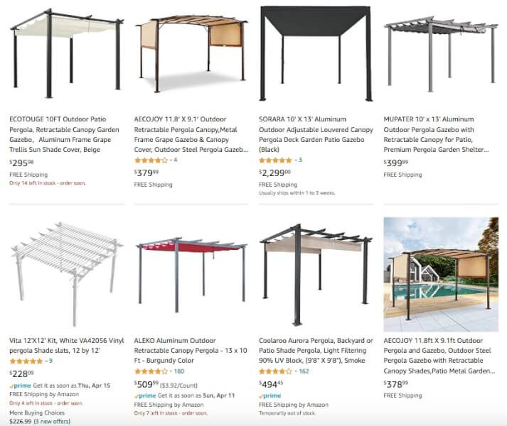 Pergolas Products To Sell Online
