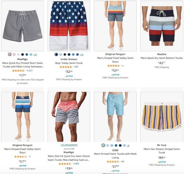 Striped Swim Shorts ecommerce products