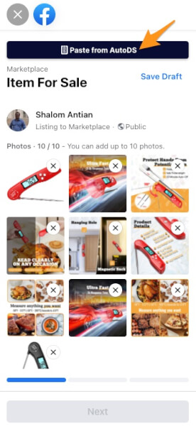 paste autods facebook marketplace