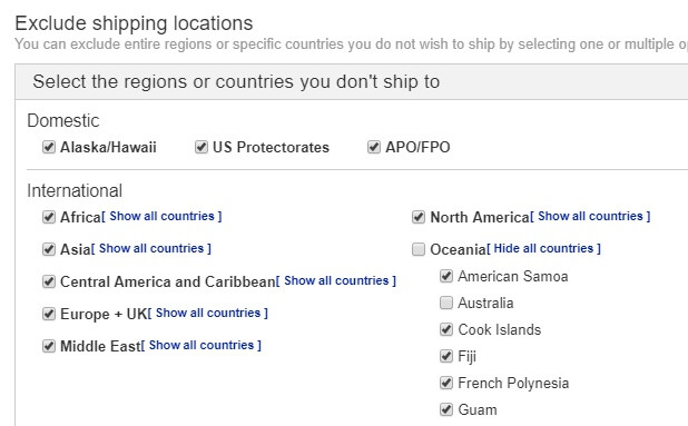 exclude shipping locations ebay australia