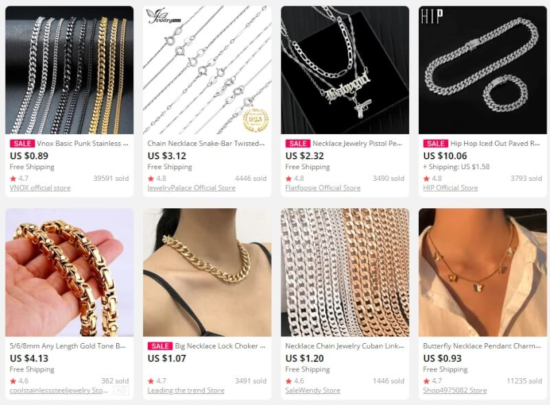 Chain Necklaces dropship jewelry