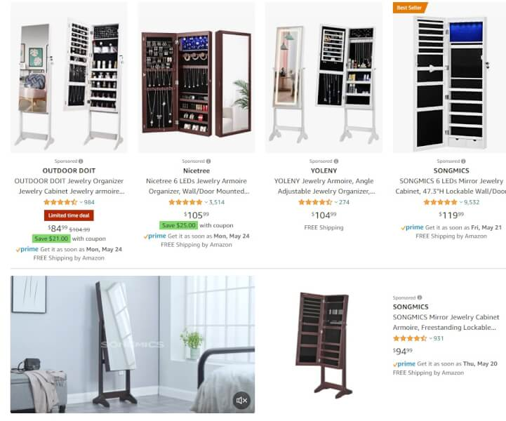 Mirror Jewelry Cabinets jewelry dropshippers