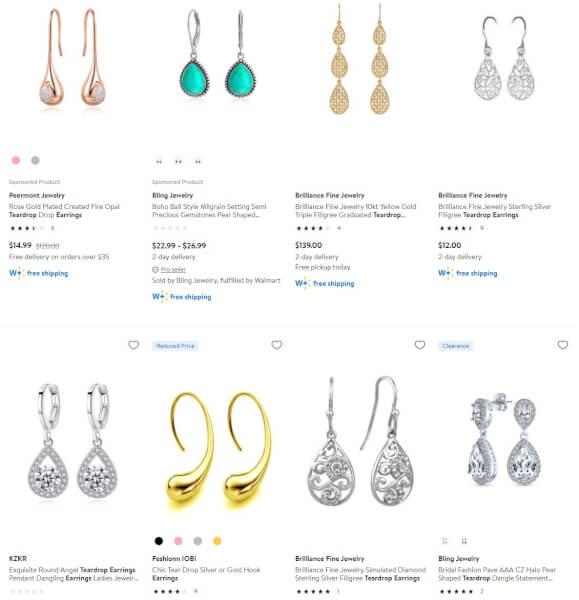 Teardrop Earrings jewelry dropshippers